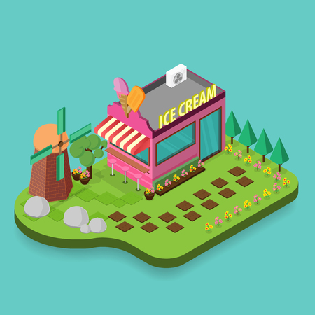 breezy: Ice cream shop icon. Isometric icon building ice cream isolated. 3d icons of building shop. Isometric exterior building ice cream shop. Flat style design on light green background Vector illustration Illustration