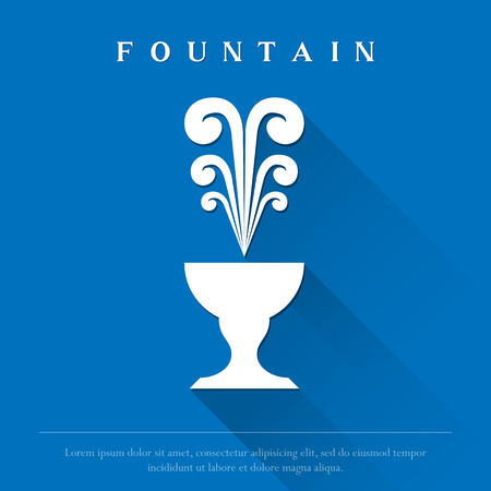 White fountain on a blue background. Illustration
