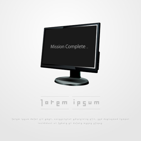 lcd: Black lcd monitor in gray background vector illustration