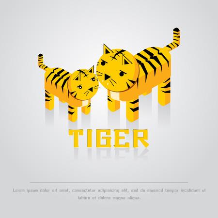 tigre bebe: la mamá y el bebé tigre en el fondo gris ilustración vectorial Vectores