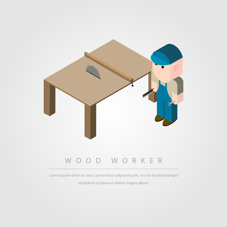 woodworker: woodworker and table saw on gray background vector illustration
