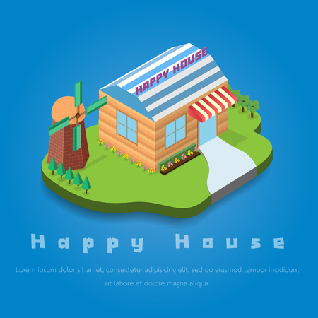 happy house: happy house and  cute turbine on the blue background