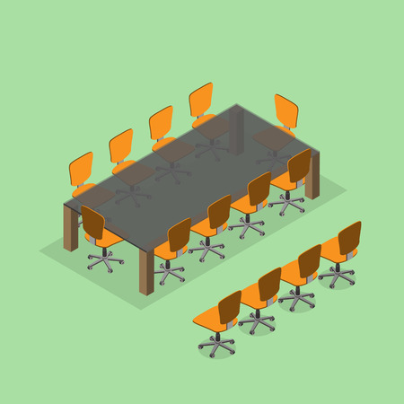 dining table: Meeting room setup layout configuration dining table style, isometric 3d with top view illustration