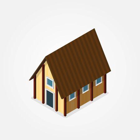 barn wood: design isometric farmhouse elements in flat style. Vector illustration Illustration