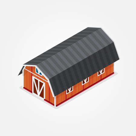 barn wood: orange barn house on a gray background Illustration