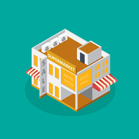 architecture: modern architecture  Isometric  modern architecture icon illustration.