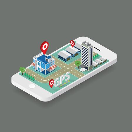 city center: Flat map GPS navigation Isometric City Center
