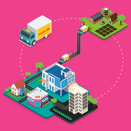 transportation facilities: Delivery Concept, Express Delivery. Flat 3d vector isometric illustration