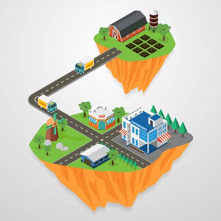 outdoor goods: Delivery Concept, Express Delivery. Flat 3d vector isometric. city landscape floating in the sky, vector illustration