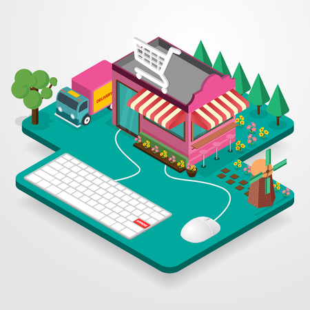 Vector concept of online shop on gray background