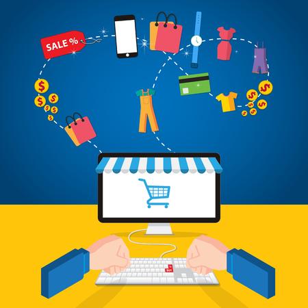 vector de concepto de tienda online