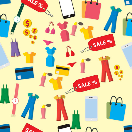 gift bags: seamless vector background with colorful shopping icons Illustration