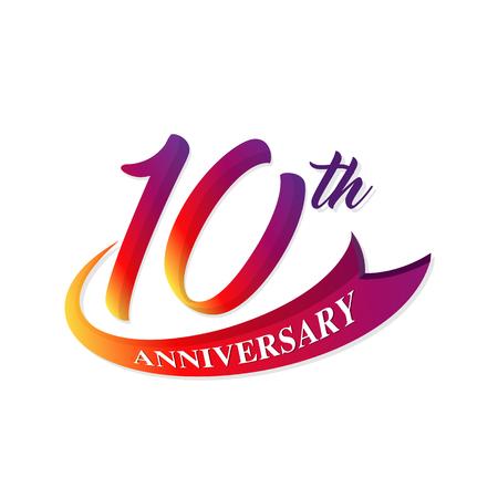 기념일 10 주년 템플릿 디자인 엠 블 럼 일러스트