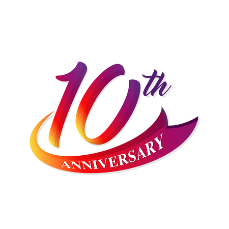 Anniversary emblems 10 anniversary template design