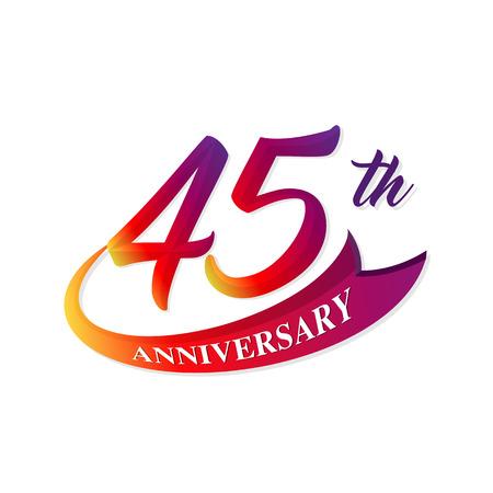 Anniversary emblems 45 anniversary template design