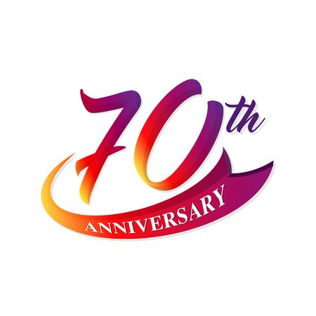 70: Anniversary emblems 70 anniversary template design Illustration