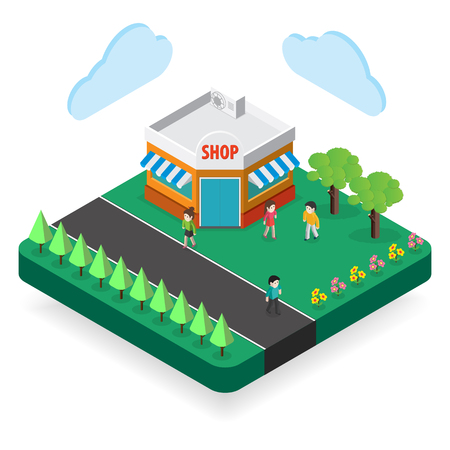 are modern: modern shop  Isometric  modern architecture icon illustration.