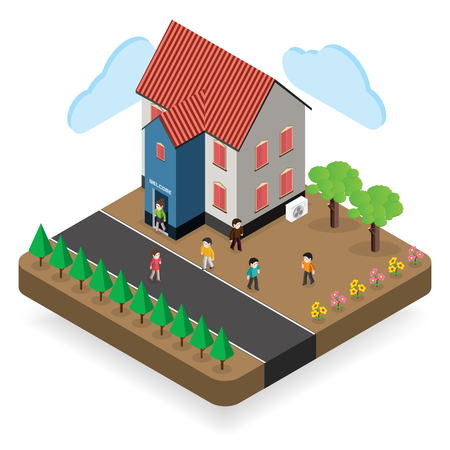 are modern: modern house  Isometric  modern architecture icon illustration.