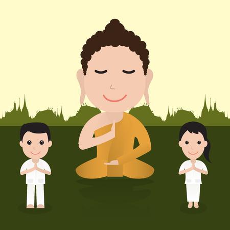 Buddha cartoon. illustratie van de boeddhistische cartoon. Stripfiguur vector illustratie. Stock Illustratie