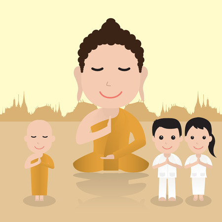 buddhist: Buddha cartoon. illustration of Buddhist cartoon. Cartoon character vector illustration.