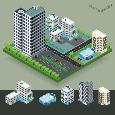 city center: Vector isometric city center with building, road, hospital, car. Isometric city map. Vector illustration. Illustration