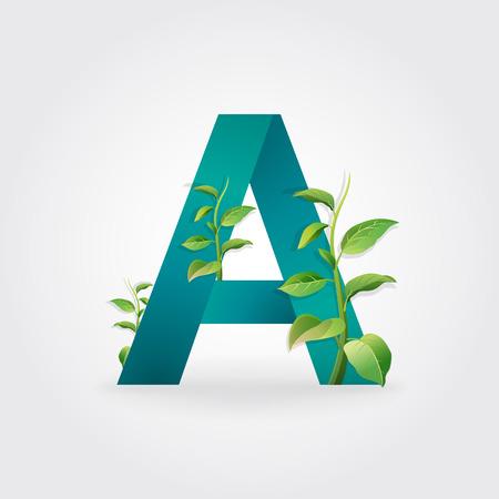 Green eco letters logo with leaves. /symbol / alphabet / Letter A / botanical / natural 向量圖像