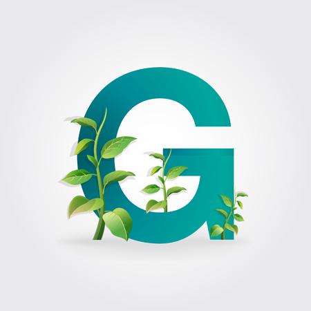 Logotipo De Letras Eco Verde Con Hojas. / Símbolo / Alfabeto / Letra ...