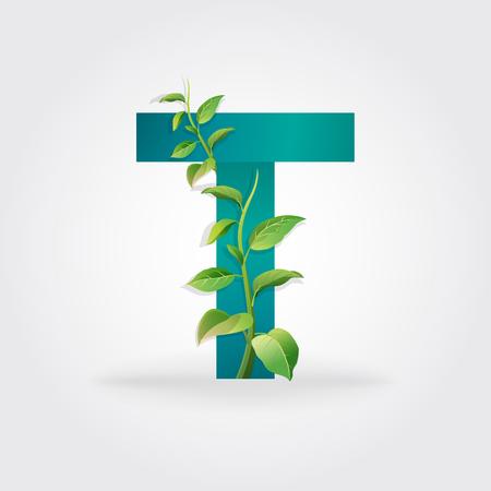 Green eco letters logo with leaves. /symbol / alphabet / Letter T / botanical / natural Illustration