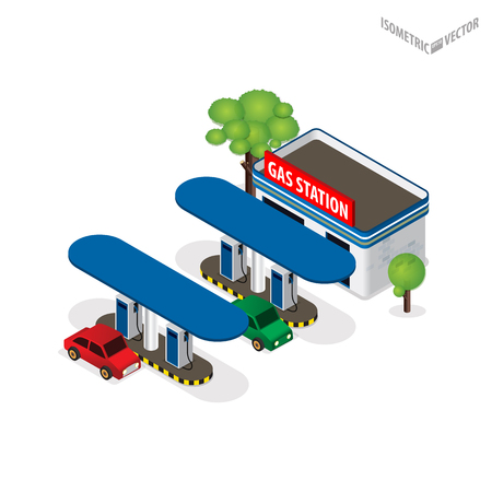 refilling: Gas station 3d isometric. Gas station concept. Gas station flat illustration. Fuel pump, car, shop, oil station, gasoline. Gas station. Refilling cleaning shopping service. Illustration