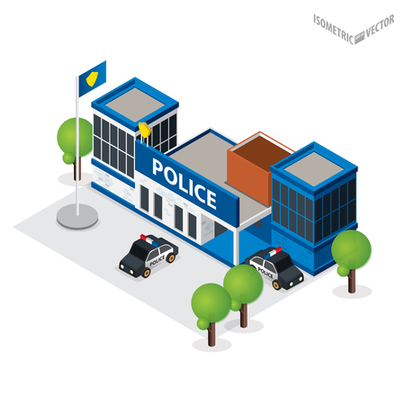 Isometric icon or infographic element representing police department building. Police office building with police sign, police car, prison