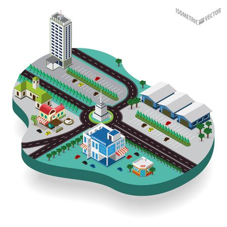 city center: isometric city center with building, road, car. Isometric city map. Illustration
