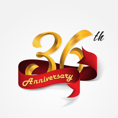 36: Anniversary emblems 36-anniversary template design