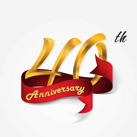Anniversary emblemen 40-jarig bestaan malplaatjeontwerp Stock Illustratie