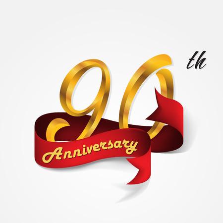 90th: Anniversary emblems 90-anniversary template design