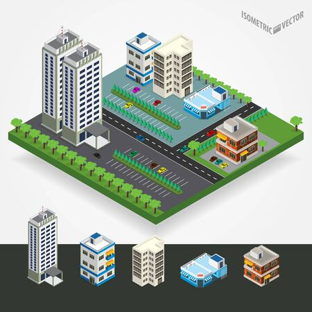 city center: Vector isometric city center with building, road, car. Isometric city map. Vector illustration. Illustration
