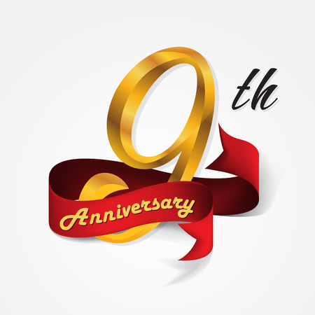 9th: Anniversary emblems 9-anniversary template design Illustration