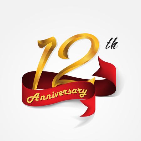 Anniversary emblems 12-anniversary template design Illustration
