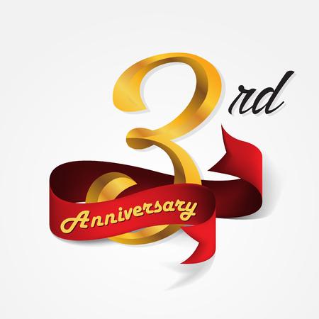 Anniversary emblems 3-anniversary template design