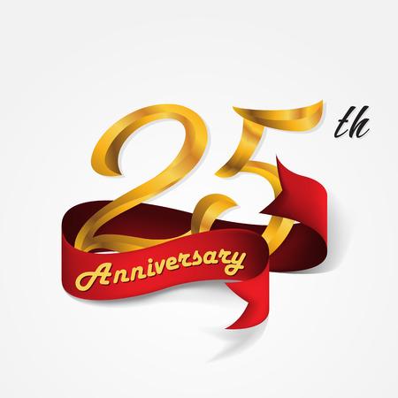 Anniversario emblemi 25 ° anniversario modello di progettazione Archivio Fotografico - 58215105