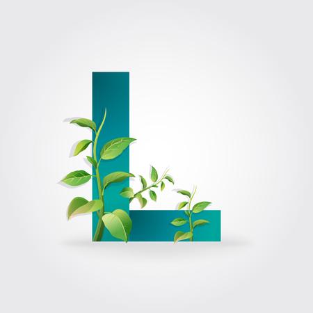 l natural: Green eco letters logo with leaves. symbol  alphabet  Letter L  botanical  natural