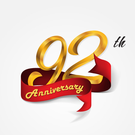 92: Anniversary emblems 92-anniversary template design Illustration