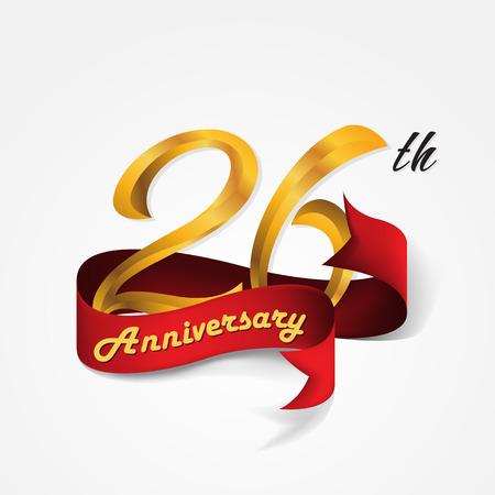Anniversary emblems 26-anniversary template design Illustration