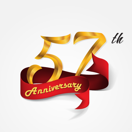 57: Anniversary emblems 57-anniversary template design