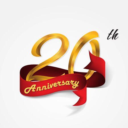 Anniversary emblems 20-anniversary template design Illustration