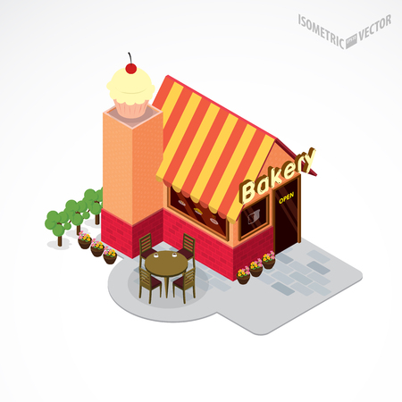 sunblind: Bakery shop building with table and chair. Flat and isometric style illustration. Illustration