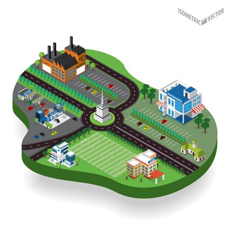 city center: isometric city center with building,factory, supermarket, policestation, hospital, gas station, schoo, road, car. Isometric city map. Illustration