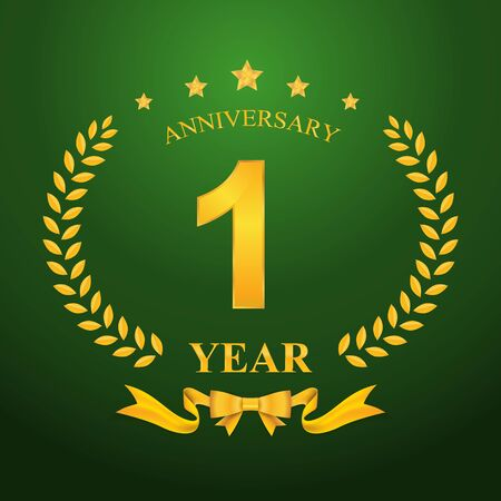one year: Anniversary emblems 1-anniversary template design
