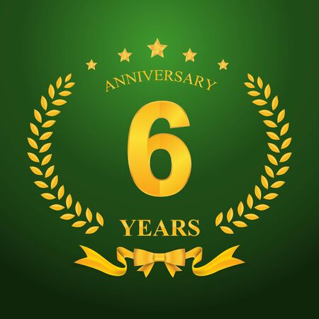 5 6 years: Anniversary emblems 6-anniversary template design