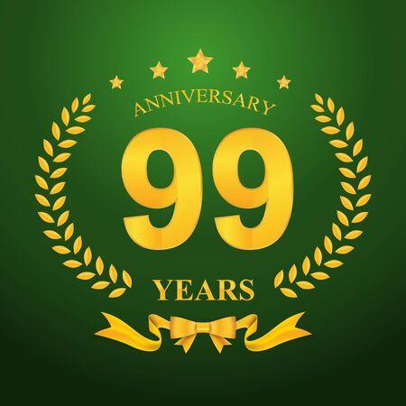 99: Anniversary emblems 99-anniversary template design Illustration