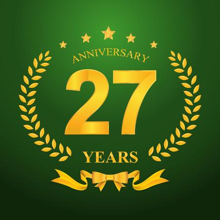27: Anniversary emblems 27-anniversary template design